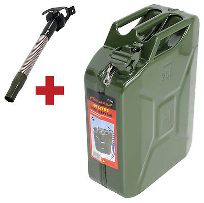 20L Litre Metal Fuel Diesel Petrol Oil Water Jerry Can + Flexible Metal Spout
