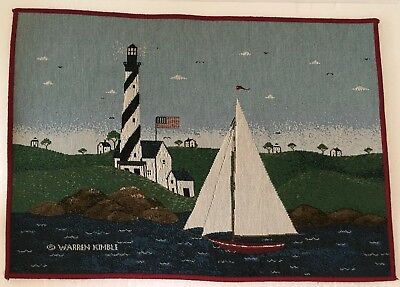 "Sakura by Warren Kimble, Coastal Breeze, 4 Fabric Placemats with Tags, 19""x13"""