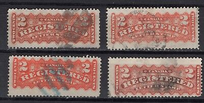 CANADA  #F1 c  DIFF SHADES on REGISTRATION STAMPS   1876-96  FINE
