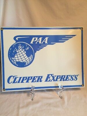 Pan Am Airlines PAA Clipper Express Heavy Metal Sign