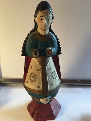 Spanish Colonial Polychrome Wood Santos Figure of Madonna with Angel Mask
