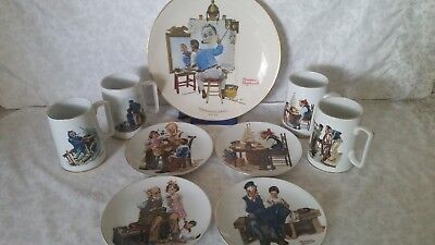 Vintage Norman Rockwell Collectors Plates & Cups, Lot Of 9