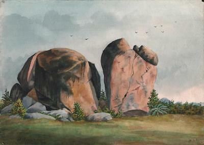 BOULDERS SECUNDERABAD INDIA Watercolour Painting 1891 HENRY STRACHAN ELTON