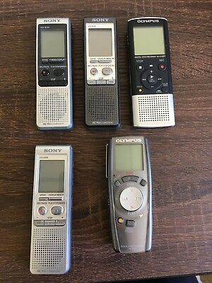Lot Of 5 Digital Voice Recorders Sony Olympus Untested See Description.