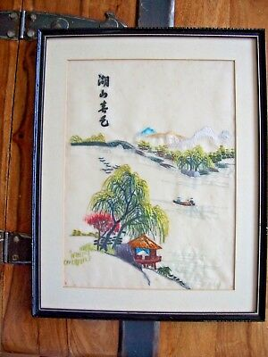 Vintage Chinese /japanese Oriental Hand Embroidery On Coloured Silk - Framed
