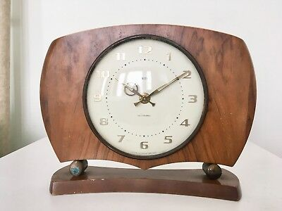 Vintage Smiths Sectronic Battery Mantel Wooden Clock