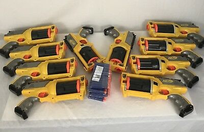 Lot of 10 Nerf N-Strike Maverick REV-6 Dart Blaster Gun 6 Shot Revolvers tested