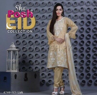 NWT Pakistani embroidered designer shalwar kameez Indian Lawn suit  Size small
