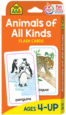 Flash Cards Basic Education Word Animals of All Kinds Gift for Kids and Children