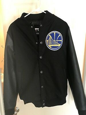 New Authentic Black NBA Golden State Warriors Bomber Jacket Size Small Curry