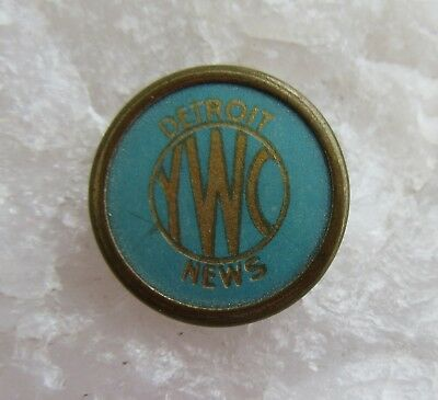 Vtg Detroit News Celluloid Lapel Pin Media Press Newspaper YWC Womens Conference