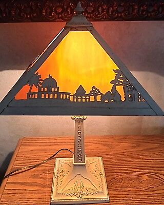 ANTIQUE SLAG GLASS LAMP Stained Glass Leaded Table Light Art Nouveau Tiffany