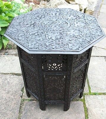 X Large Antique Octagonal  Rosewood Folding  Anglo/ Indian   Side Table