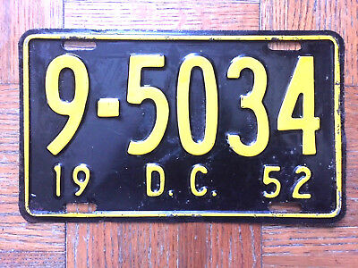 1952 DISTRICT OF COLUMBIA DC license plate - SUPER antique old vintage auto tag