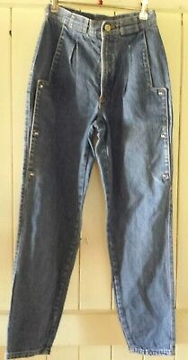 Womens Glam 80's Vintage High Waisted Mum Mom Jeans 10 Pleated Front Tapered VGC