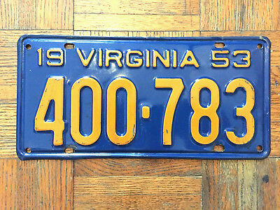 1953 VIRGINIA license plate - BRILLIANT - SHARP vintage old antique auto tag!