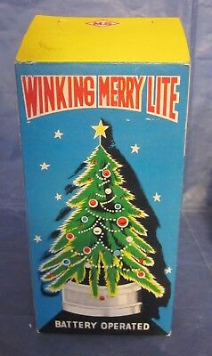 Vintage Battery Winking Merry Lite Christmas Tree