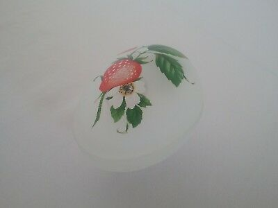 """Egg Covered Dish Frosted Glass Strawberries Footed Trinket Box 3 1/2"""" x 3"""" C"""