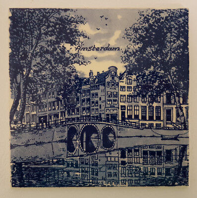 "Delft Blue 6"" Tile Depicting Amsterdam River and Town Scene. Superb Condition."