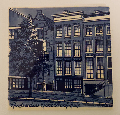 "Delft Blue 6"" Tile Depicting Anne Frank Huis in Amsterdam. Superb Condition."