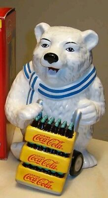 "GIBSON Coca-Cola Polar Bear Ceramic Cookie Jar Coke 2001 13"" Tall Christmas"