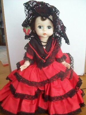 """Vintage Madame Alexander  8""""  Bkw Doll """"spanish""""  With Earrings"""