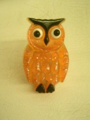Vintage Oragne Acrylic Lucite Owl Plug In Night Light, Works Great
