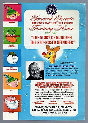 1965 Tv Ad~Rudolph The Red Nosed Reindeer~Burl Ives~Christmas Holiday Special