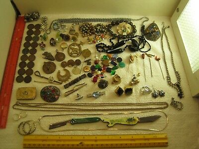 vintage junk drawer lot,jewelry,sterling silver,rhinestone salvage,coins,knives,