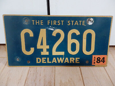 Delaware April 1984 # C4260 Vintage License Plate With Riveted Numbers Expired
