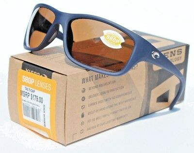d653a8b5b8 COSTA DEL MAR Tasman Sea POLARIZED Sunglasses Matte Blue Amber 580P NEW  179