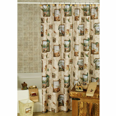 Western Fish Deer Moose Bear Rustic Shower Curtain And Matching 12 Hooks