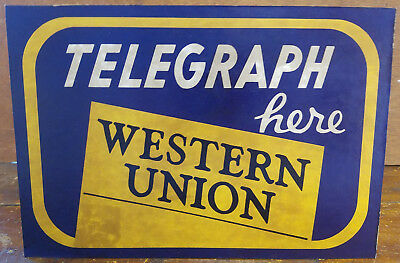 Telegraph Here Western Union Blue Yellow Logo Cardboard Advertising Counter Sign