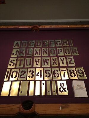 "Vintage NSN Adjustable Brass 4"" Stencils in Box - Letters Numbers - 4 inch Set"