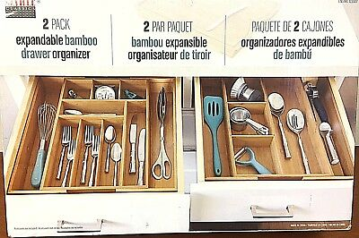 Seville Classics 2-pack Expandable Bamboo Drawer Organizer - 8M_09