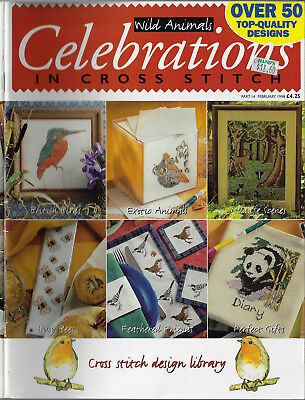 Celebrations in Cross Stitch # 14 - Wild Animals Feb 1998 embroidery