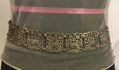 #18c VTG CARVED Ottoman Islamic Sterling silver filigree Belt Signed 171grm J809