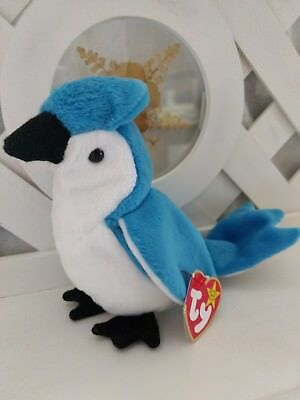 TY Beanie Baby ~ ROCKET Blue Jay Bird ~ NWT Retired with Error on Tag PE Pellets