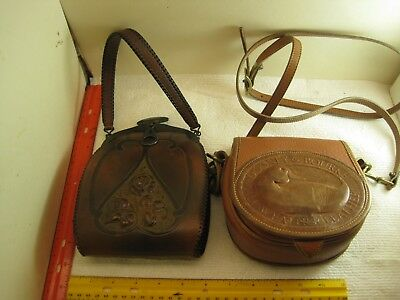 "vintage junk drawer lot,leather purses,Justin ""twist lock"",Dooney & Bourke,old"