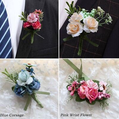 Man's Pin Brooch Prom Flower Artificial Rose Corsage Boutonniere Wedding Party
