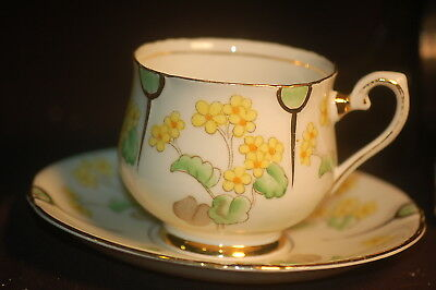 Tuscan Handpainted Primrose  Cup and Saucer