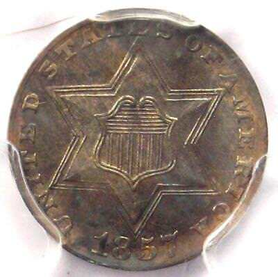 1857 Three Cent Silver Piece 3CS - PCGS Uncirculated Details (MS) - Rare Date!