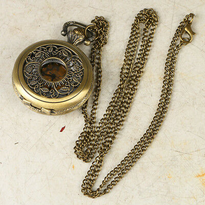 European Exquisite Classical Copper Carved Leaf Shape Pocket Watch LB41+b