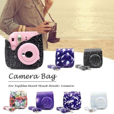Fujifilm Instax Mini 9 8 8+ Camera Vintage Flowers PU Bag Protector Cover Case