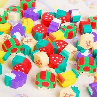50PCS Mini Cute Fruit Rubber Pencil Eraser Student Stationery Office Kids Gift