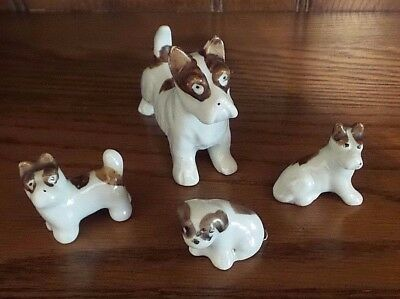 4 Vintage Mini Porcelain Boston Terrier or Small Dog Figurines Made in Japan