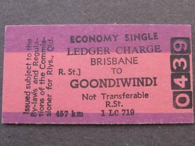 BRISBANE to GOONDIWINDI ECONOMY SINGLE LEDGER TICKET - QUEENSLAND RAILWAYS