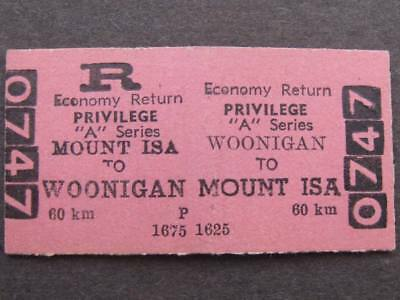 WOONIGAN to MOUNT ISA ECONOMY RETURN PRIVILEGE TICKET - QUEENSLAND RAILWAYS