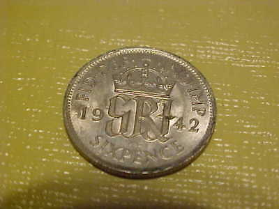 1942  Great Britain 6 Pence  - Silver  with free shipping