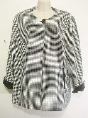 New Sweet Suit Woman Plus 16W Blk/White Houndstooth Career Cape Blazer 1 Button